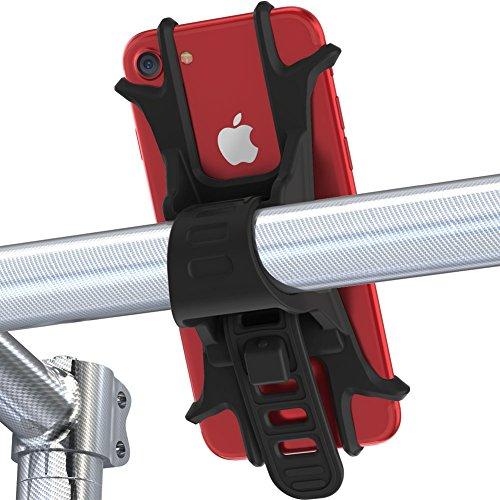 Handyhalterung fahrrad von Fnova, aus Einzelstück geformt hochwertigem Silikon, EXTREM bruchfestes, langlebiges und rutschfestes, verstellbarer Smartphone Handyhalter, Universialer Motorrad Fahrradhalter Lenkradhalterung Bike Holder, für alle Gerätemit einem 4-6 Zoll Bildschirm, iPhone, Samsung, Huawei und GPS-Navigationsgerät