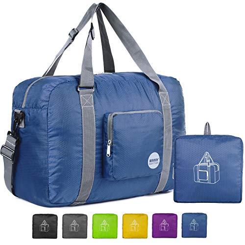 Wandf Leichter Faltbare Reise-Gepäck Handgepäck Duffel Taschen Übernachtung Taschen/Sporttasche für Reisen Sport Gym Urlaub Weekender handgepaeck (40L Dunkelblau)