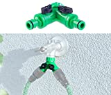 Royal Gardineer Wasserverteiler: 2-Wege-Wasserhahn-Adapter mit 2 Ventilen für Gartenschläuche (Wasserverteiler für Gartenschlauch)