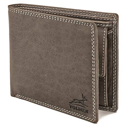 Fa.Volmer ® schlanke graue Leder-Geldbörse Vintage mit RFID Schutz #EasyBuffGrey