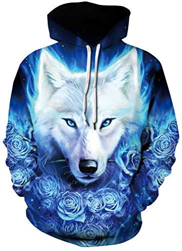 Socluer Femme Sweat-Shirts à Capuche Fille Sport 3D Imprimé Pull Fantaisie Hoodie Casual Hip Hop Chemisier(S/M),Loup