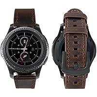iBazal 20mm Bracelet Cuir Véritable Libération Rapide pour Huawei Watch 2/Samsung Galaxy Watch 42mm/Gear S2 Classic/Gear Sport/TICHWATCH 2/ Garmin Vivoactive 3 / Vivomove HR etc. - Café Simple