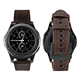 iBazal 20mm Armband Leder Ersatz Kompatibel Samsung Galaxy Watch 42mm/Huawei Watch 2/Samsung Gear S2 Classic/Gear Sport/TICHWATCH 2/Garmin Vivoactive 3/Vivomove HR Smart Watch etc. - Klassisch Kaffee