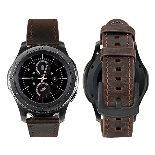 iBazal 20mm Armband Leder Ersatz für Huawei Watch 2/Samsung Gear S2 Classic/Gear Sport/TICHWATCH 2/Garmin Vivoactive 3/Vivomove HR Smart Watch etc. - Klassisch Kaffee