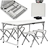 Camping Table with Chairs | Adjustable height | Set 1 Table with 4 Stools | Case Shaped with Carry Handle | Portable Folding Table for Picnic Garden BBQ | ca. 120x60 cm