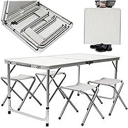 AMANKA Tavolino da pic-nic incl 4 Sgabelli Tavolo da campeggio 120x60x70cm altezza regolabile pieghevole formato valigia Grigio Chiaro