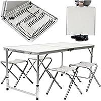 AMANKA Mesa para acampada 120x60x70cm incl 4 Taburetes plegable portátil como si fuera un maletín altura regulable para pícnic camping Gris Claro