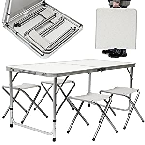 51qhCV9RvjL. SS300  - AMANKA Camping Table incl 4 Stools portable picnic set 120x60x70cm adjustable height folding briefcase size Light Grey