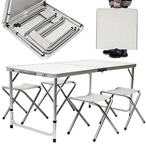 51qhCV9RvjL. SS500  - AMANKA Camping Table incl 4 Stools portable picnic set 120x60x70cm adjustable height folding briefcase size Light Grey