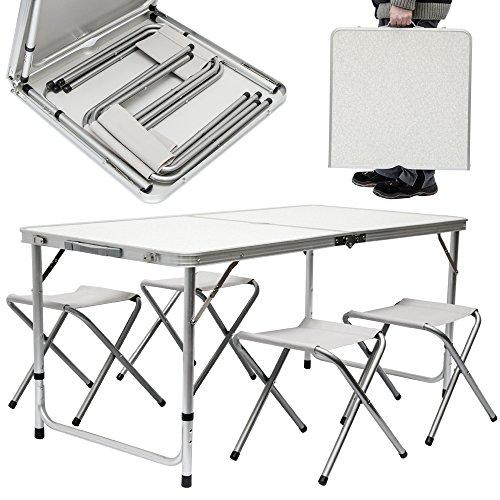 Mesa para acampada + 4 Taburetes | Plegable Portátil | Altura Regulable | ideal para picnics camping playa jardín etc | ca 120x60cm width=