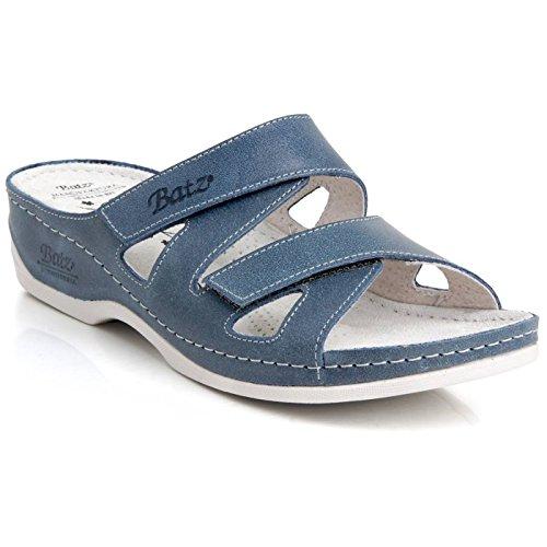 Batz ENI Hochwertigem Komfortschuhe, Lederschuhe, Pantolette, Sandalette, Damen Blau
