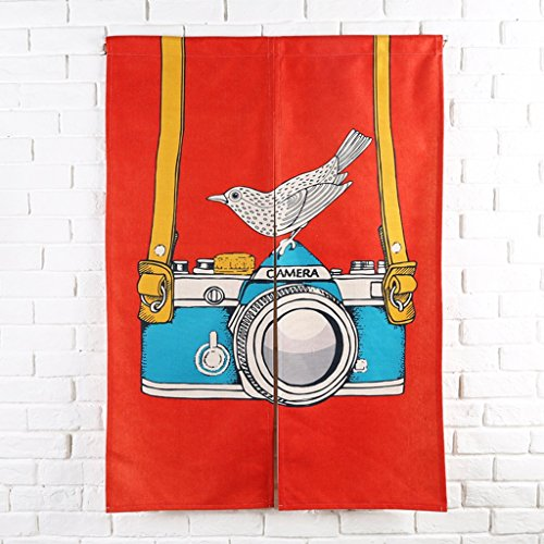 Baumwolle Leinen Tür Tür Vorhang Schattierung Schlafzimmer Badezimmer Tapisserie Raumteiler Wandbehänge - reduziert Wärmeverlust, verhindert Zugluft, spart Energie ( Farbe : Rot , größe : 85*120cm ) (Red Door-perlen)