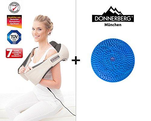 DAS Original Nackenmassagegerät beige/grau Donnerberg® Shiatsu Massage und Fussreflexzonenmatte Miniberg im Set
