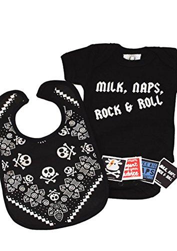 Cool Milch, Nickerchen, Rock & Roll, Baby Geschenk Set/witzige Jungen oder Mädchen Baby Geschenk Tüte/Cool Baby Dusche Geschenk Idee, 0-3Monate, oder 3-6/6-12Monate (Baby-dusche-geschenke Für Jungen)