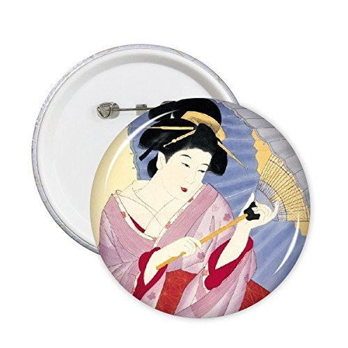 DIYthinker Traditionelle japanische Art Ukiyoe Weibliche Individuelle Kimono Regenschirm Japan-Kunst-Malerei Runde Stifte Abzeichen-Knopf Kleidung Dekoration 5Pcs XXL