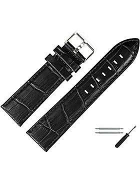 Uhrband 22mm Leder schwarz - Marburger Uhrenarmband Kroko, inkl. Federstege & Werkzeug - Rindleder, Alligatorprägung...