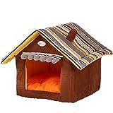 MissPet Katzenhöhle & Hundebett mit Ablösbar Kissen Matte, Weiche Schlafsack Outdoor Hundehöhle Hundehütte Warm Haustierhütte für Hunde Katzen Braun Size XL: 55*50CM