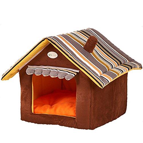 MissPet Katzenhöhle & Hundebett mit Ablösbar Kissen Matte, Weiche Schlafsack Outdoor Hundehöhle Hundehütte Warm Haustierhütte für Hunde Katzen Braun Size L: 50*45CM
