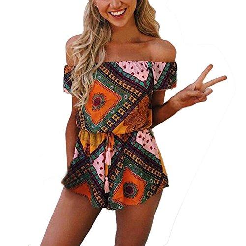 Damen-Jumpsuit, schulterfrei, gedrucktes Blumenmuster. (Swimsuit Belted)