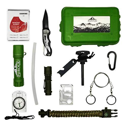 Kit supervivencia montaña Kit de supervivencia profesional | Mechero infinito pedernal supervivencia | Bushcraft Vivac Acampada | Filtro potabilizador de agua portátil | Manta térmica supervivencia