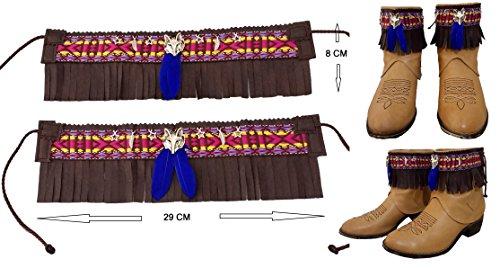 Cubrebotas ÉTNICO - COUNTRY de polipiel, CORTO MARRÓN PLUMAS, artesanal. COLOR a elegir en opciones Handmade
