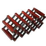 HT BEI Massivholz + Kaltgewalzte Stahl Tischplatte Burgund/Original/Elegant Weiß Freie Installation Starke Schwerkraft Stark und Langlebig 18 Flaschen | (Farbe : Weinrot)