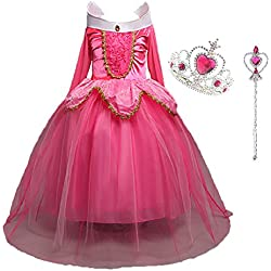 LiUiMiY Disfraces Niña Princesa Vestido de Manga Larga Carnaval Tul Tiara Cosplay Wedding Party Vestido de Carnaval de Cumpleaños para Niñas