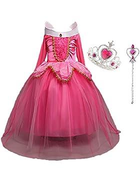 LiUiMiY Costumi Bambina Principessa Vestito Carnevale Lunga Manica Tulle Diadema Cosplay Festa Nuziale Compleanno...