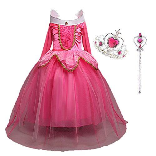 LiUiMiY Prinzessin Glanz Kleid Mädchen Kostüm/Cosplay Kinder Verkleidung für Fest Karneval Weihnachten Halloween Geburtstag Party, Rosa Blau