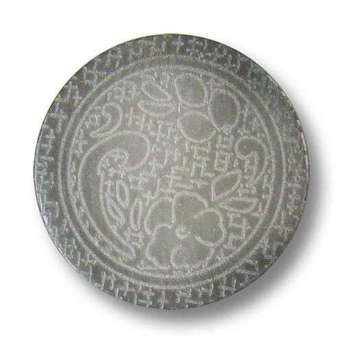 Knopfparadies 8er Set mimial gewölbte perlmuttartig grau schimmernde Kunststoffknöpfe mit nostalgischem Blumen Muster auf netzartigem Untergrund/Perlmutt-Grau/Kunststoff Knöpfe/Ø ca. 17mm