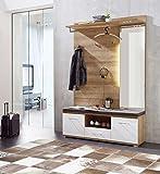 Garderobe, Set, Garderobenschrank, Flurgarderobe, Garderobenmöbel, Dielenmöbel, Flurmöbel, Wandgerderobe, beige, braun, Eiche, weiß