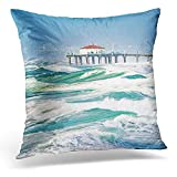 TEPEED Decorative Pillow Cover Orange Pier Windy Day in Manhattan Beach Red California Throw Pillow Case Square Home Decor Pillowcase 18x18 Inches