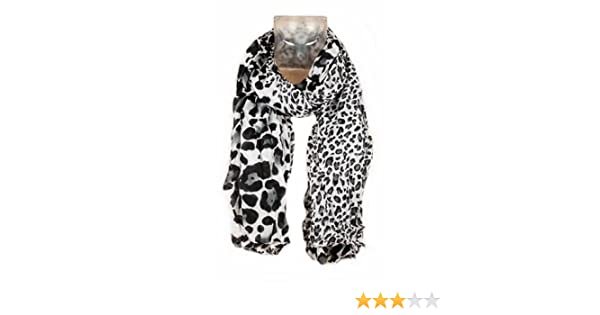 5a7c308a61b Foulard Echarpe Cheche Jaguar Leopard - Coloris Gris Noir Blanc - Tendance  Collection Printemps Eté 2013 - 160 cm x 75 cm  Amazon.fr  Vêtements et ...