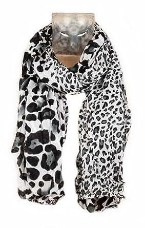 Foulard Echarpe Cheche Jaguar Leopard - Coloris Gris Noir Blanc - Tendance Collection Printemps Eté 2013 - 160 cm x 75 cm