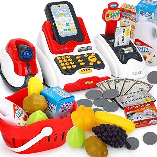 Maschine, Einkaufsset für Kinder, Spielzeug-Kassenregister mit Kasse Scanner Obstkartenleser Kasse mit Lichtern ()