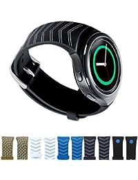 Dokpav® Bracelet de Montre Remplacement en Silicone Mat, Bande de Poignet Rechange pour Montre Intelligente Samsung Gear S2 Smart Watch Sport - flèche noire