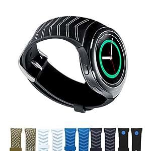 Dokpav® Samsung Gear S2 Orologio Cinturino Cinghia Watch Band Silicone Matt Sportivo Sports Ricambi - Colore Freccia Nero