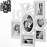 Bilderrahmen Bildergalerie Fotorahmen Fotocollage Collage Fotogalerie Love Liebe 45cm x 43cm x 3cm für 6 Fotos weiß