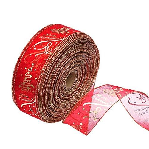 ODN Weihnachtsbaum Party Dekoration Bronzieren Bänder Spitze Printing Blumen Band für Christmas Party 200 x 6,3 cm, Polyester, Rot