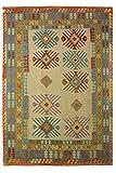 CarpetFine: Kelim Afghan Teppich 243x353 Beige,Blau,Rot - Geometrisch