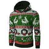 Riou Herren Langarm Hoodie Sweatshirt Slim fit Sweatjacke Kapuzenpullover Baumwoll Pullover Outwear Männer Winter Weihnachten Langarm mit Kapuze Mantel Pullover Outwear Tops (M, Grün)