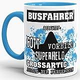 Berufe-Tasse Bedeutung Eines Busfahrer Innen & Henkel Hellblau/Job/Tasse mit Spruch/Kollegen/Arbeit/Witzig/Mug/Cup/Geschenk-Idee/Beste Qualität - 25 Jahre Erfahrung