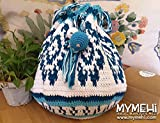 Bolso saco hecho a mano, diseño exclusivo, pieza única, de crochet con monedero, llavero, colgante y cordones interiores para llaves y complementos.'Big Turquesa' estilo wayúu.