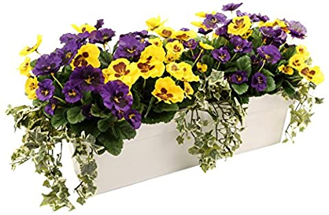 Closer2Nature Artificial Purple and Yellow Pansy Display in a 60cm Gloss White Trough Planter