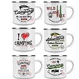 Emaille Tasse - Kaffee Becher - Tasse weiß / silver Retro – Vintage robust – 300 ml – für Retro-Küche, Picknick, Outdoor, Camping – Becher emailliert