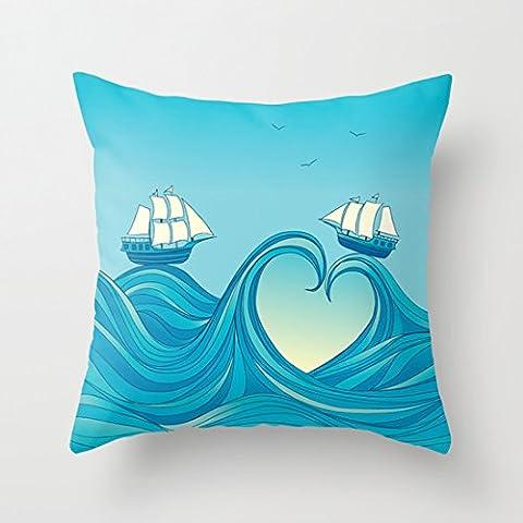 Vinage Mer d'amour Taie d'oreiller Couvre-lit décoratif Taie d'oreiller 45,7x 45,7cm Saint-Valentin cadeaux de Noël pour filles
