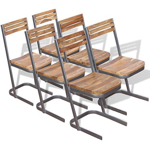 lingjiushopping chaises de salle à manger 6 pièces en bois de teck massif couleur : marron matériau : teck solide + Fer