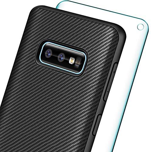 Funda AROYI para Samsung Galaxy S10e Silicona + Película protectora de vidrio templado, Fibra de carbono suave y delgada TPU Parachoques Estuche protector contra rayaduras a prueba de golpes para Galaxy S10e / S10 Lite- Negro
