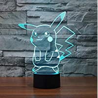 S- LOVE 3D Slide Light LED Night Light, Pokemon Pikachu Seven Color Gradient Night Light LED Furniture Table Lamp