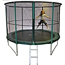 Cortez Green Premier 10ft Trampoline and Enclosure with Fibre rod Technology and ladder